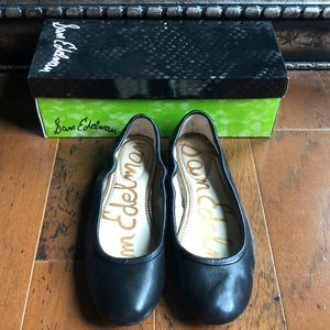 Same Edelman Fritz Black Leather Ballet Flats 8